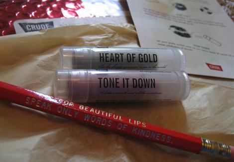 Crude lip balm