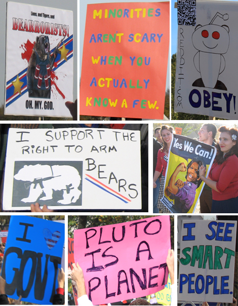 signs at the Rally for Sanity
