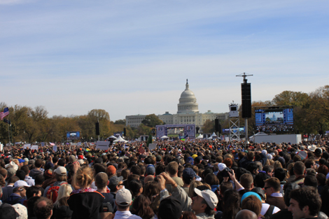 the crowd seen from our spot at the Rally for Sanity